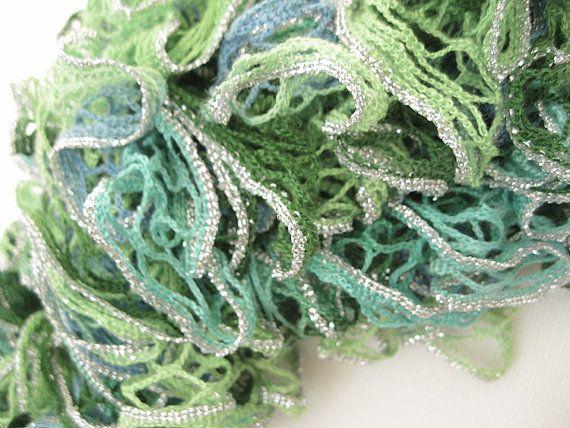 Green MultiToned Women's Knit Ruffle Scarf by AshevilleHandmade, $45.00
