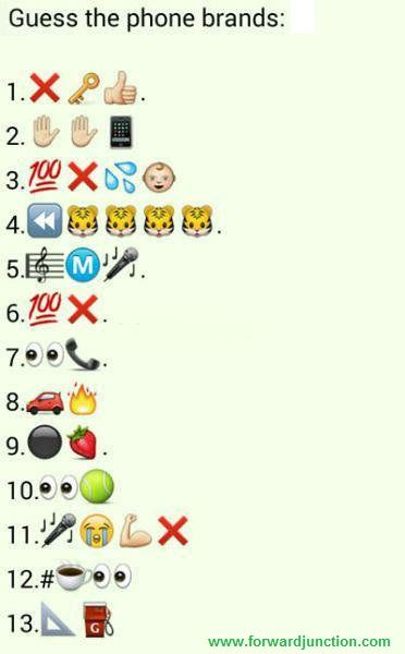 Guess The Phone Brands With Answers Forward Junction Us Emoji Puzzle Emoji Quiz Emoji Games