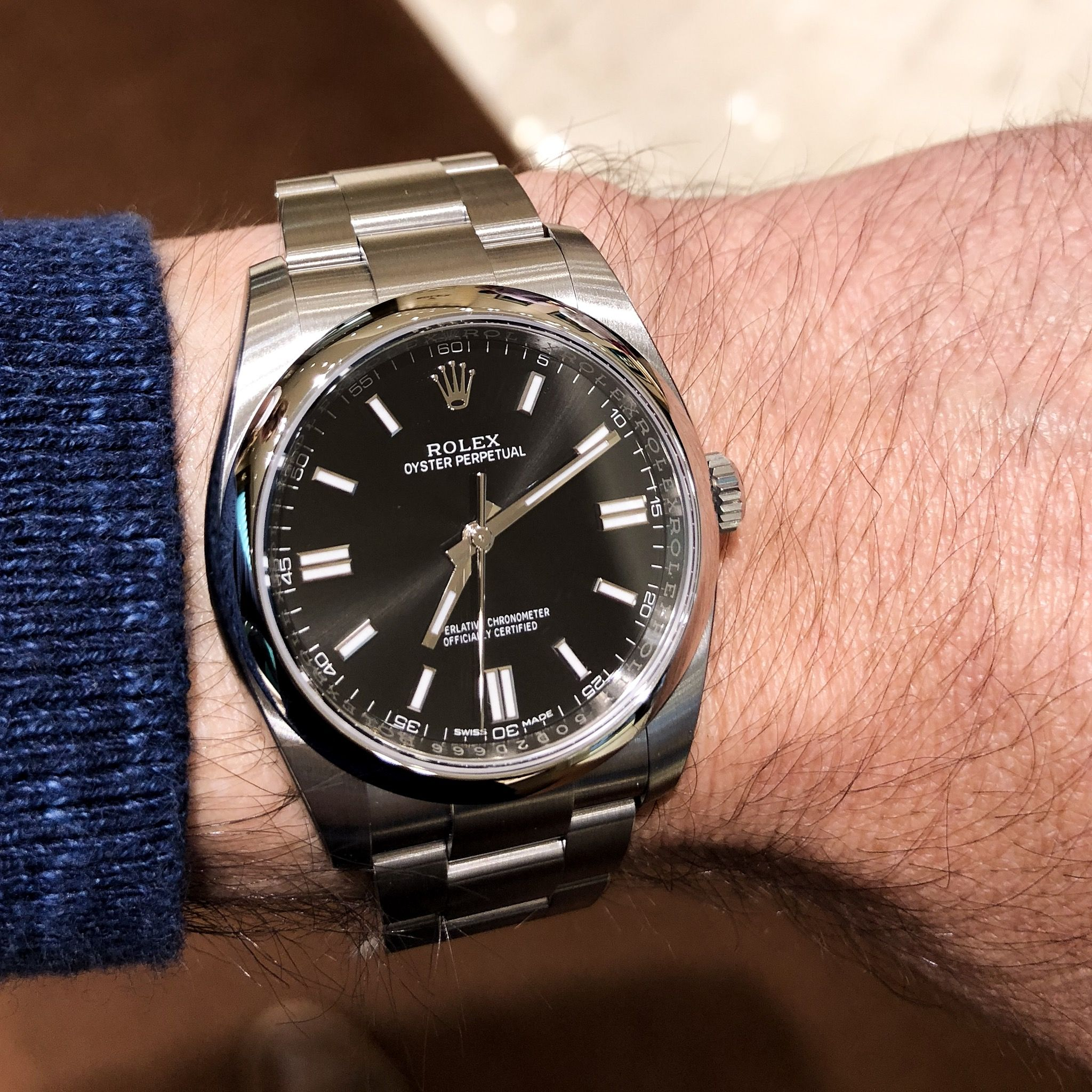 2018 Rolex Oyster Perpetual 116000 Black Face 36mm Watches In