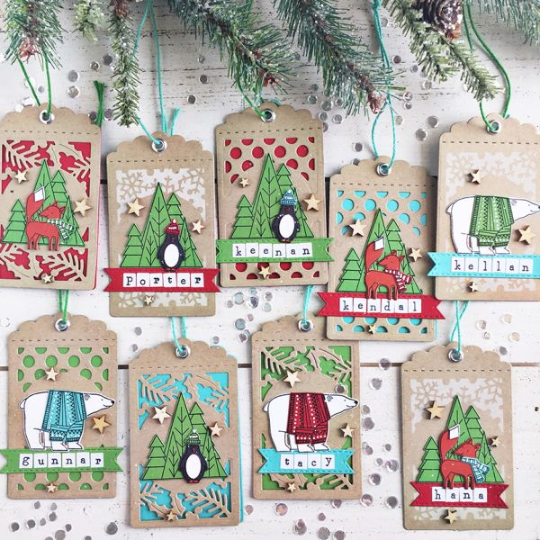 48 Pack Colourful Glittered Die-Cut Christmas Gift Tags