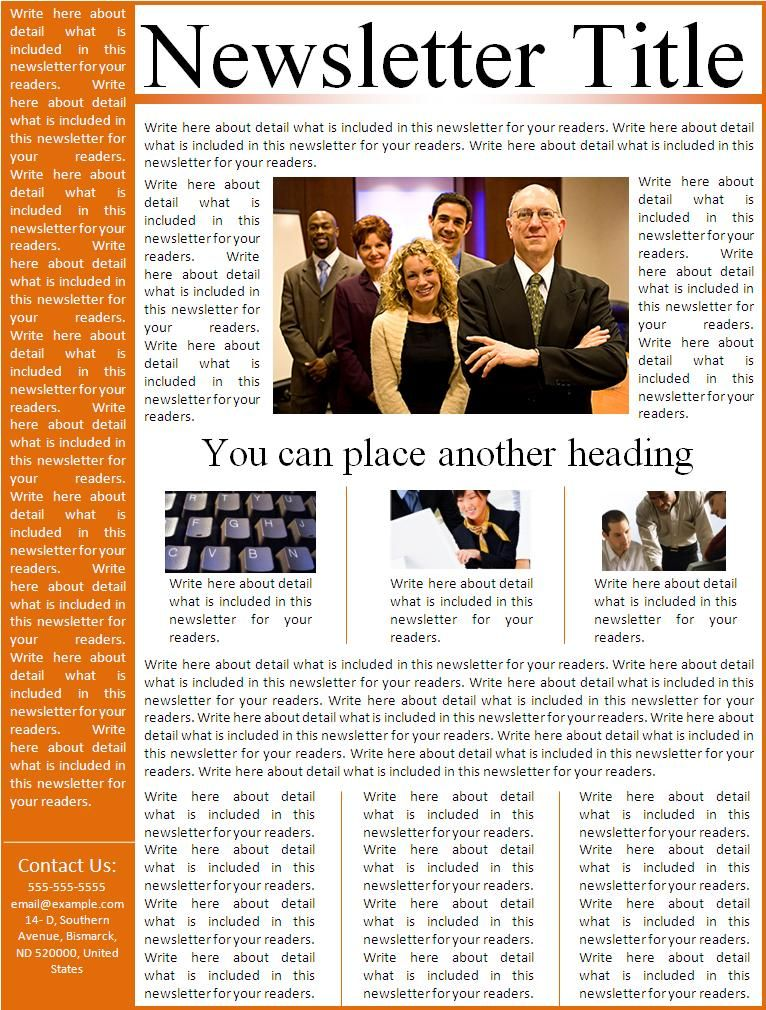 Newsletter Template Intends In Order To Provide You A Professional Layout Of Which Can Easily Follow