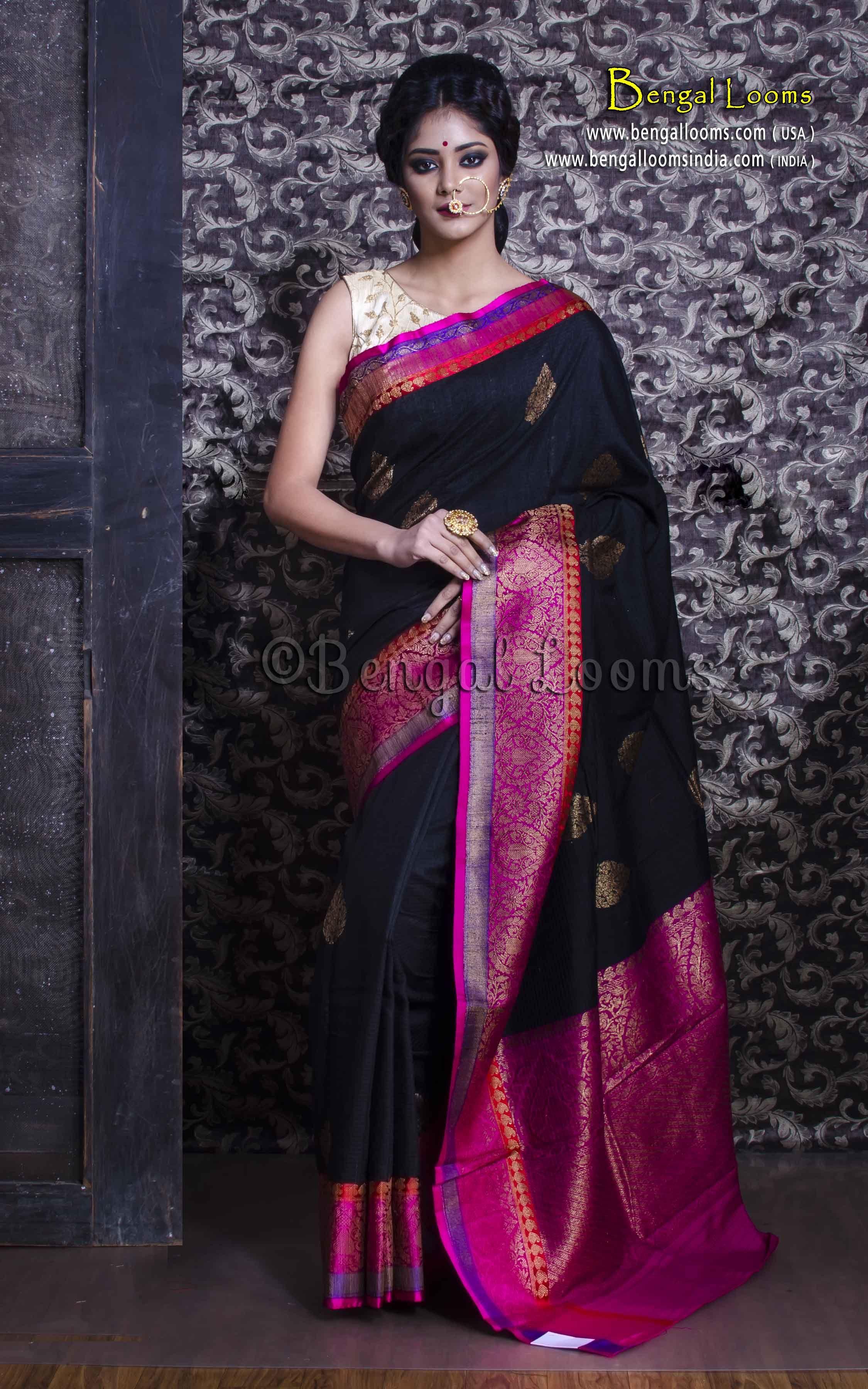 f5bd5e15a0 Pure Handloom Tussar Silk Banarasi Saree in Black and Magenta ...