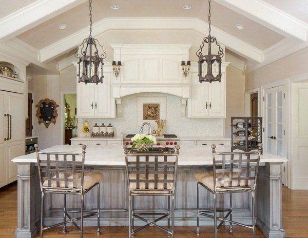 Mediterranean Style Kitchen Decor White Cabinets Gray Kitchen Island  Pendant Lighting Fixtures