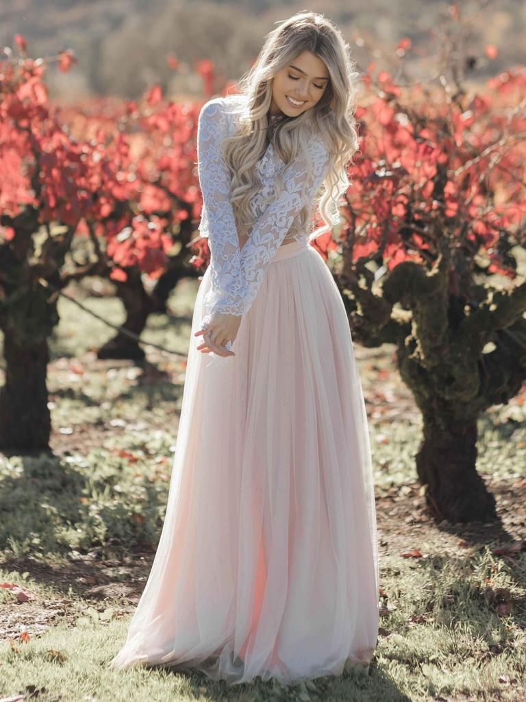 Cheap two piece blush pink wedding dresses. Long sleeve