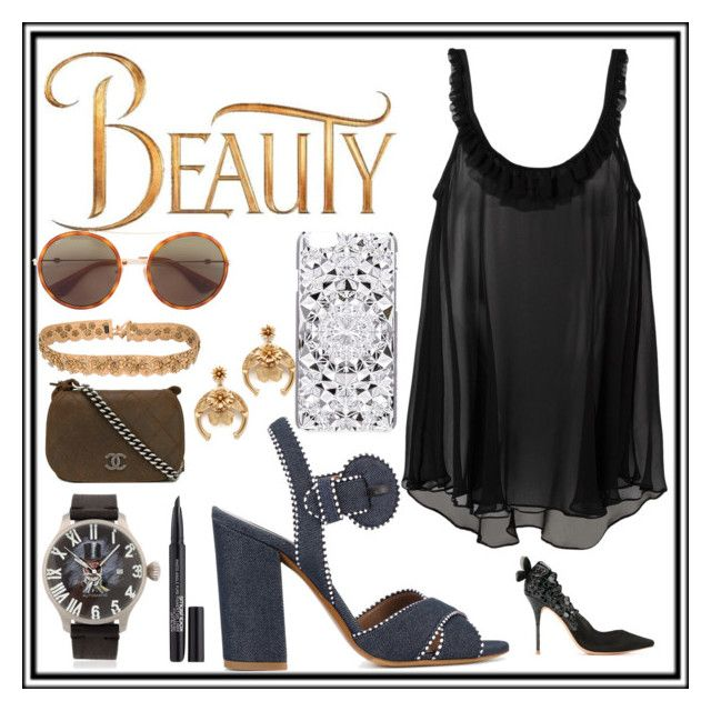 """""""Beauty and fantastic"""" by denisee-denisee ❤ liked on Polyvore featuring Gilda & Pearl, Disney, Proff, Tabitha Simmons, Sophia Webster, Chanel, Felony Case, Gucci, Elizabeth Cole and Etro"""