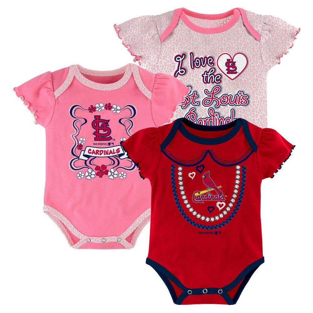 St. Louis Cardinals Girls 3pk Body Suit 18 M, Infant Girl's, Multicolored