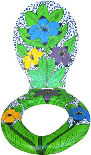 A hacienda toilet seat with a blue, yellow and green pattern is quite decorative. The lid #HF47 will draw immediate attention to its pattern and amaze anyone entering the bathroom. #myRustica