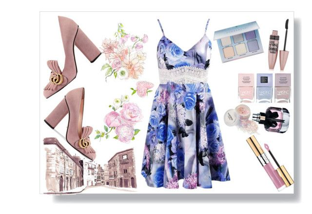 """""""Untitled #86"""" by amanihalaly on Polyvore featuring Gucci, Maybelline, Yves Saint Laurent, Nails Inc. and Anastasia Beverly Hills"""