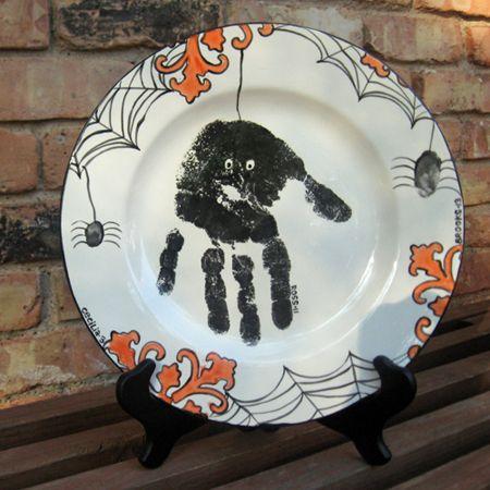 Hand Print Spider Plate Halloween Plates Halloween Crafts Handprint Crafts