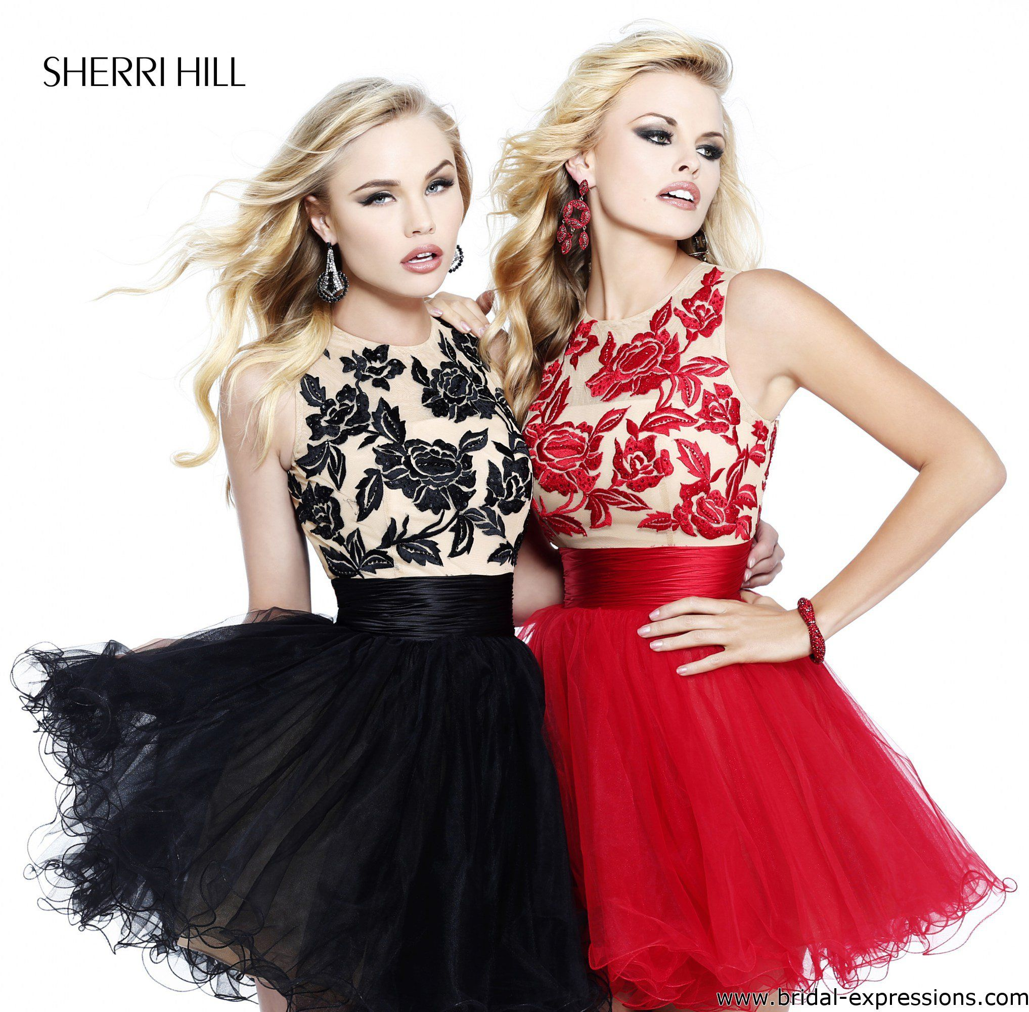 Sherri Hill 21219 Black/Nude and Red/Nude Tulle Homecoming Dress