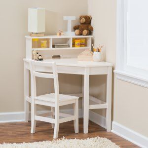 Clic Playtime Juvenile Corner Desk And Reversible Hutch With Chair Vanilla Hayneedle