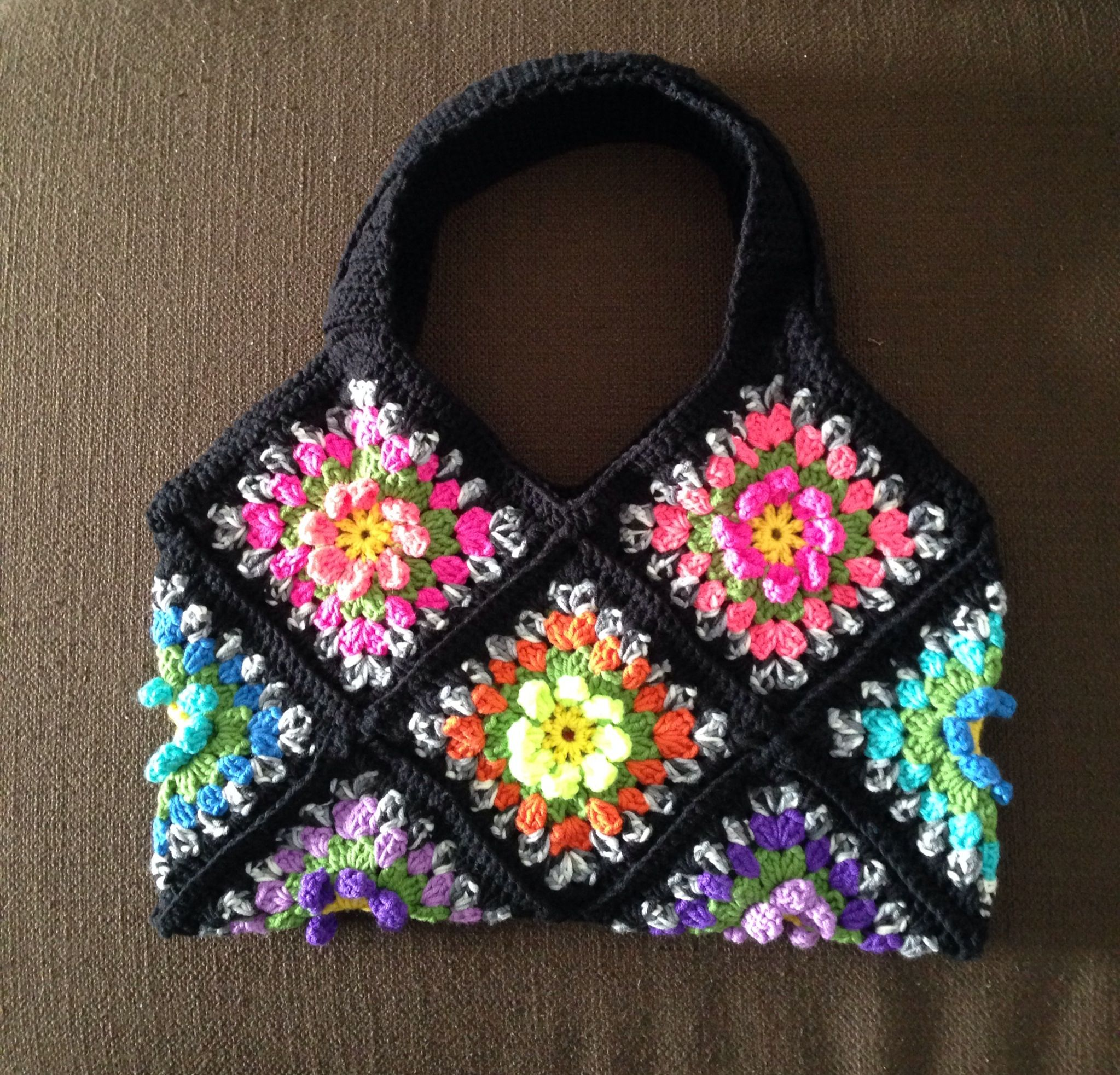 Crochet Handbag - 3D Flower Garden Granny Square Pattern My Crochet ...