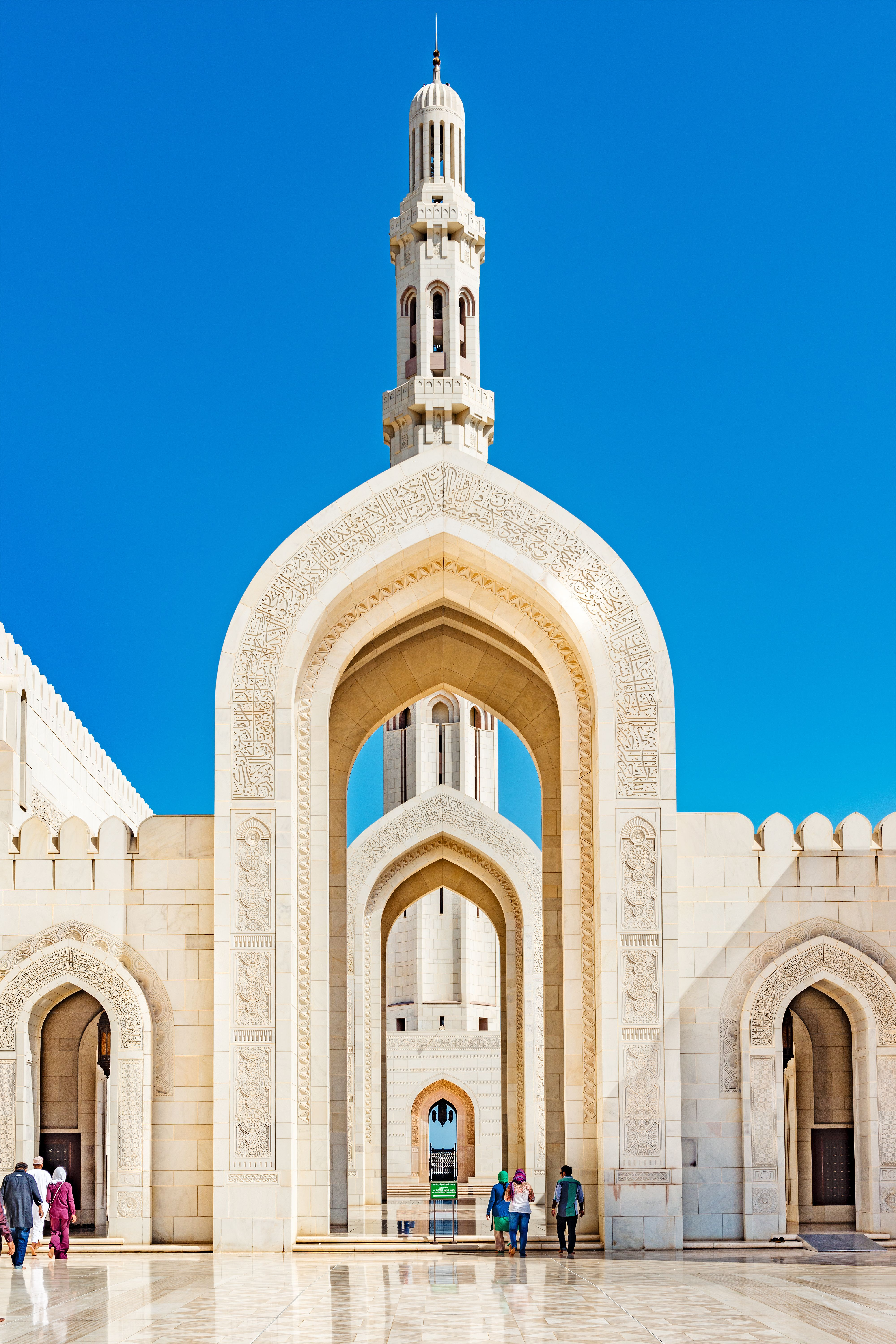 The Sultan Qaboos Grand Mosque In Muscat, Oman.