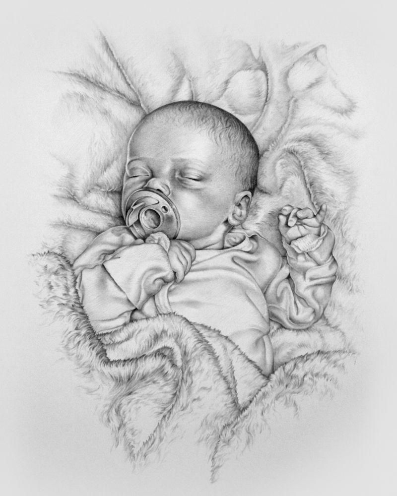 Hand drawn pencil drawing of baby Sammie. By Tom Nemoda ...