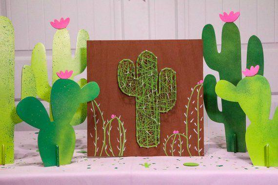 Pack of 3 foil Cactus Silhouettes DECORATIONS 43 cm-Western Fête DECORATION