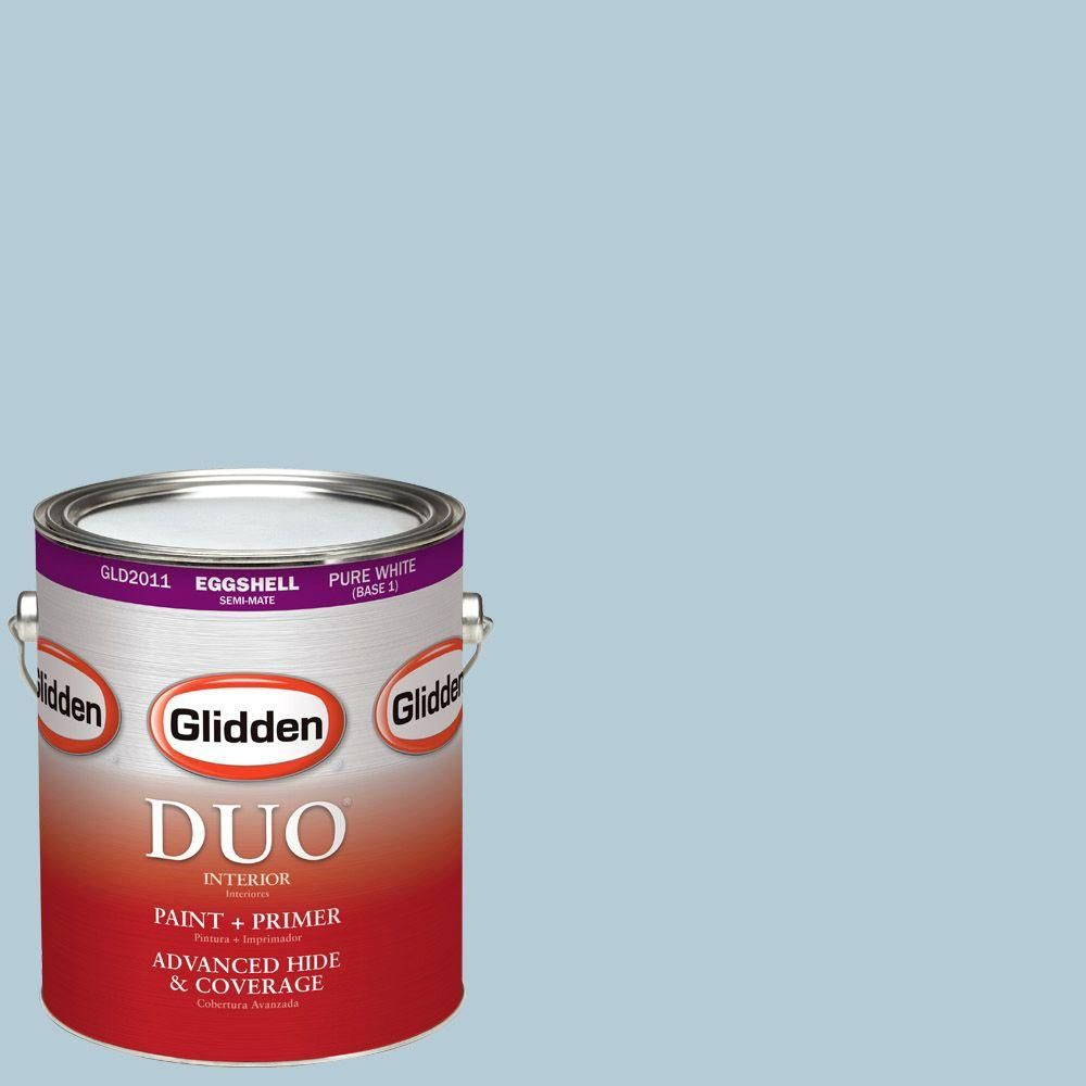 Glidden DUO 1-gal. #HDGB48D Stencil Blue Eggshell Latex Interior Paint with Primer