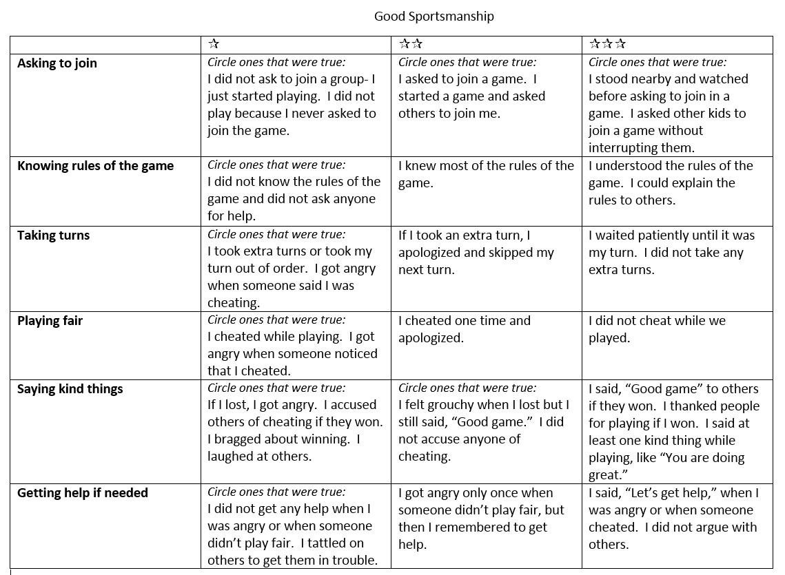 Here S A Sample Rubric For Good Sportsmanship I Do Use