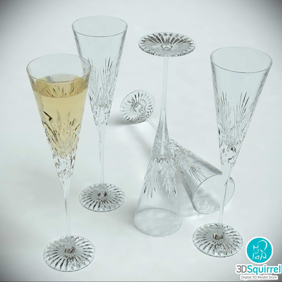 Champagne Glass 3D Model Download | 3DSquirrel