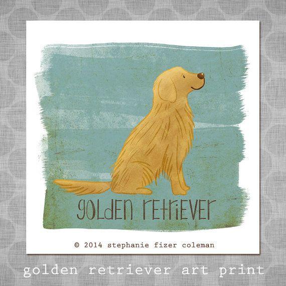 Golden Retriever Art Print Illustrated Dog Art Cute Whimsical
