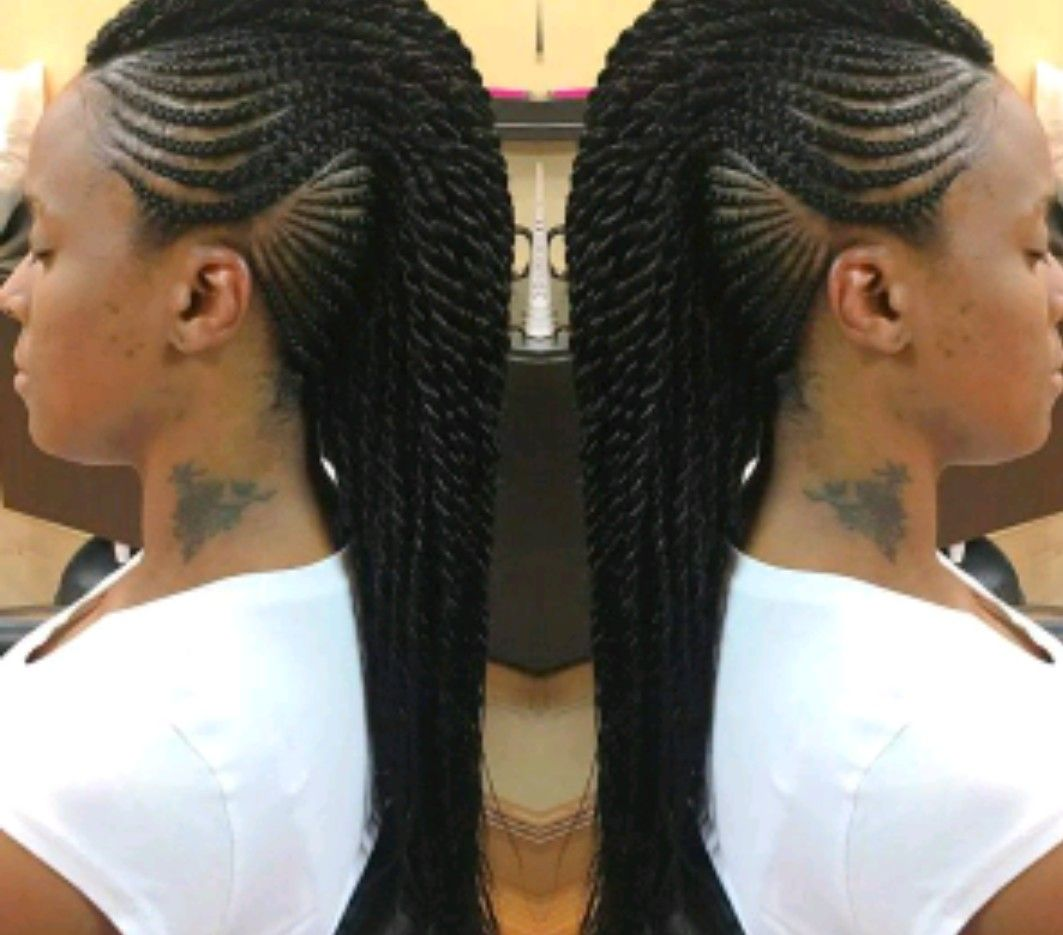 Pin By Tanya King On Braiding Crochet Protective Styles Braided Mohawk Hairstyles Mohawk Hairstyles Mohawk Braid Styles