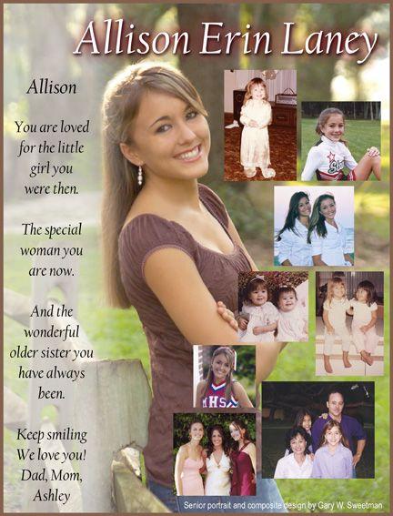 senior page dedication page custom annual ad with my photos