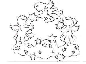 вытынанка рождественская картинка ангел шаблон схема на ...