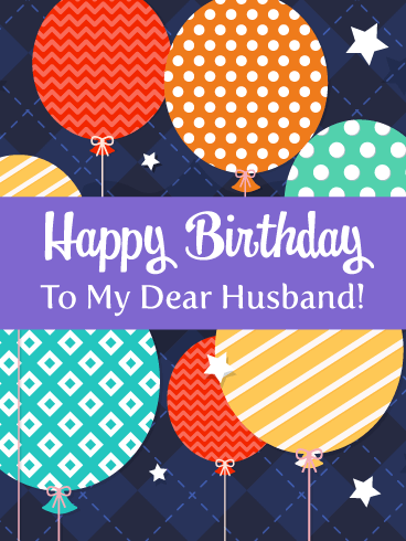 Celebration Balloons Happy Birthday Card For Husband Birthday Greeting Cards By Davia Happy Birthday Cards Husband Birthday Card Birthday Cards