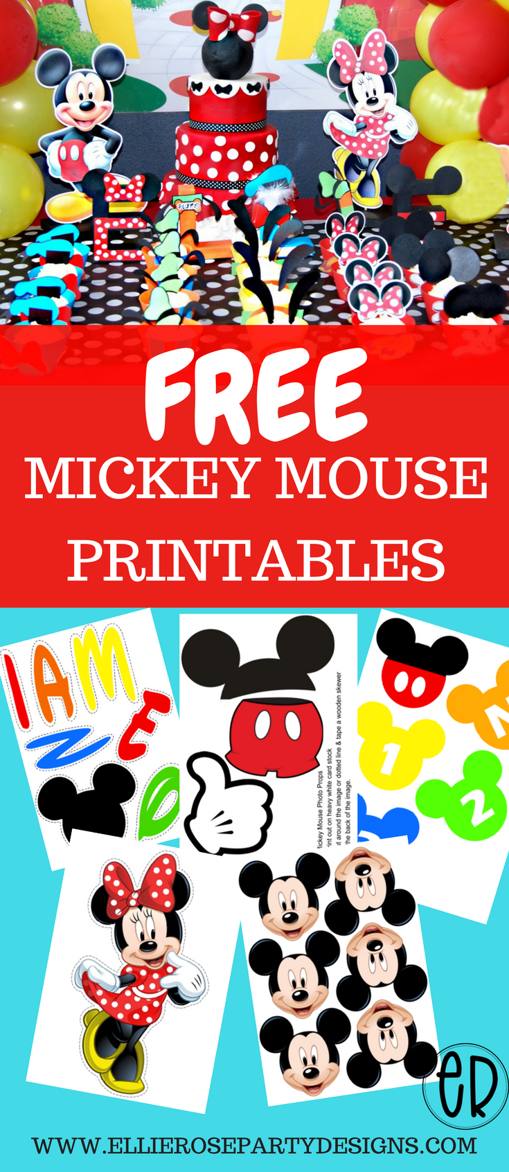 FREE Mickey Mouse printables and party ideas.  DIY decorations for boys and girls #mickeymousebirthdaypartyideas1st
