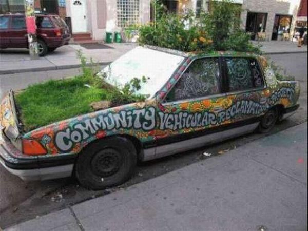 this is for sure that the owner of this car really loves greenry and this is called a plants car strangecars plantscar car weird cars green car art cars pinterest
