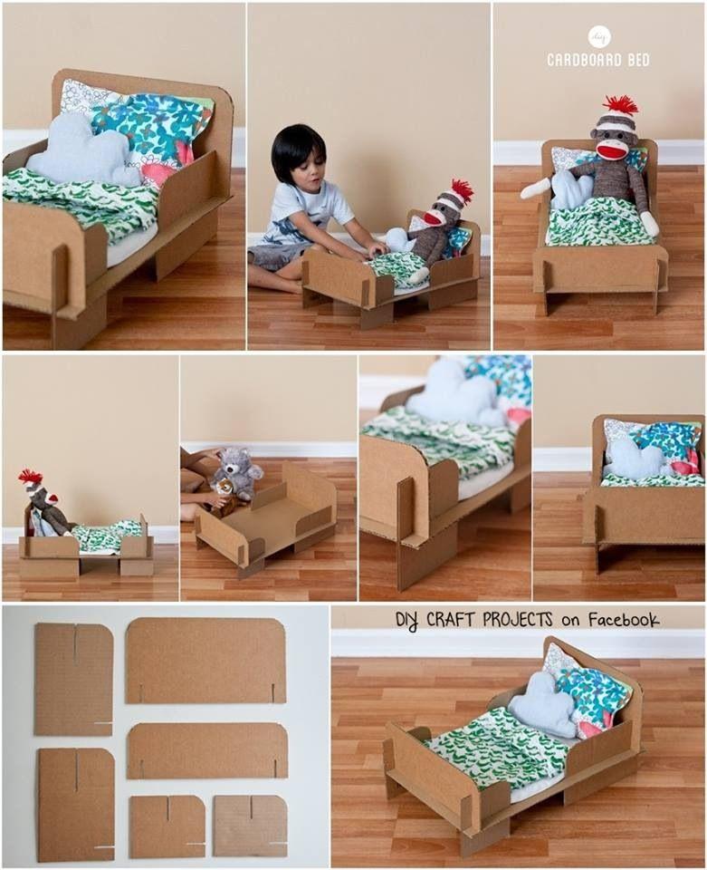Diy cardboard doll bed for kids pinterest diy for Kids craft bed