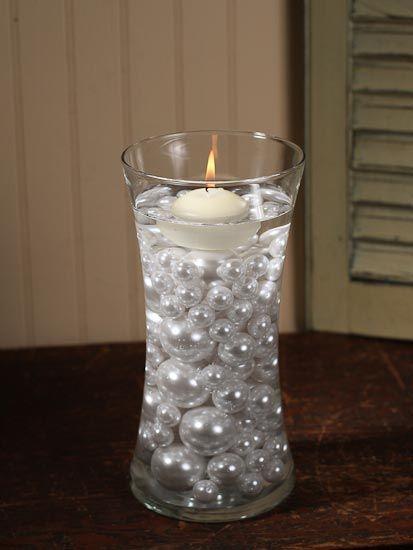 9b4b3946e Pin de Maria Grandinetti en velas gel | Mesas de boda, Boda de perlas y  Centros de mesa para boda