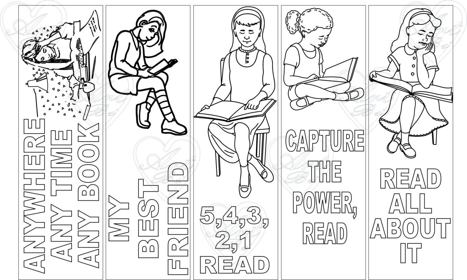 bookmark reading 3 bookmark instant download birthday activity coloring sheet coloring