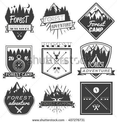 Stock Vector Set Of Forest Camp Labels In Vintage Style Design Elements Icons Logo Emblems And Badges 407276731 450x470