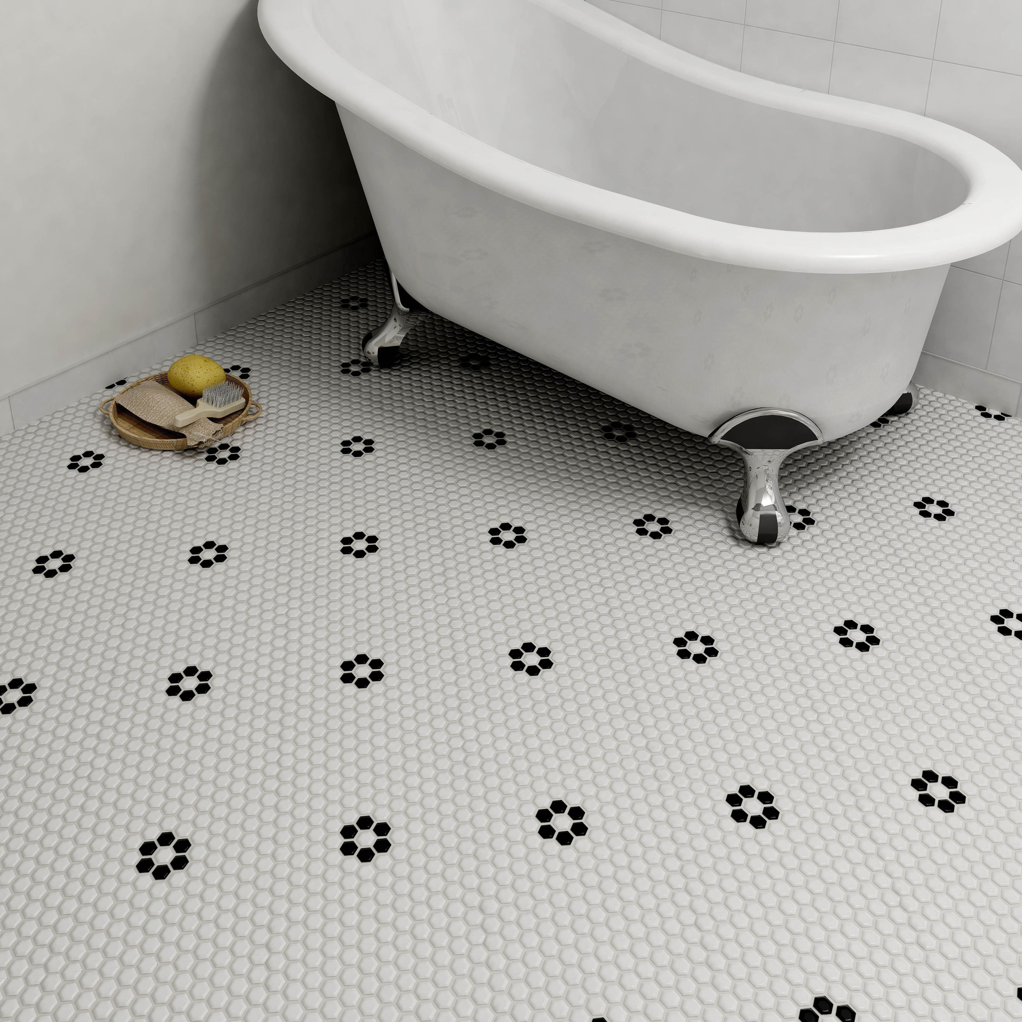 Reminiscent of victorian era tile mosaics this somertile tile set somertile victorian hex glossy white with flower porcelain mosaic floor and wall ti white with flower pack of size x dailygadgetfo Images