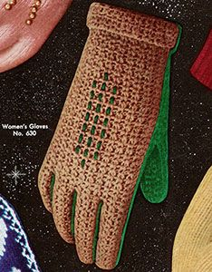 Women's Two Tone Crocheted Gloves pattern published in Gloves and Mittens, Bernhard Ulmann #29.