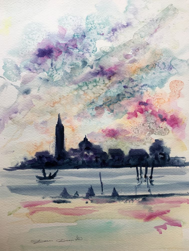 Details Sur Aquarelle Originale Dam Domido Paysage Venise