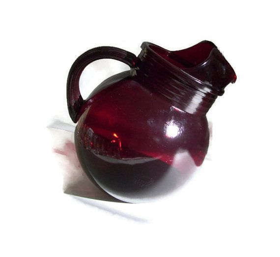 Red Kitchen Glassware: Anchor Hocking Vintage Pitcher,Red Glass, Royal Ruby, Roly