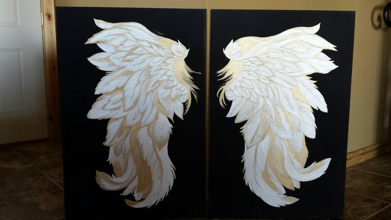 Angel wings wall art on black canvas 24 by 36