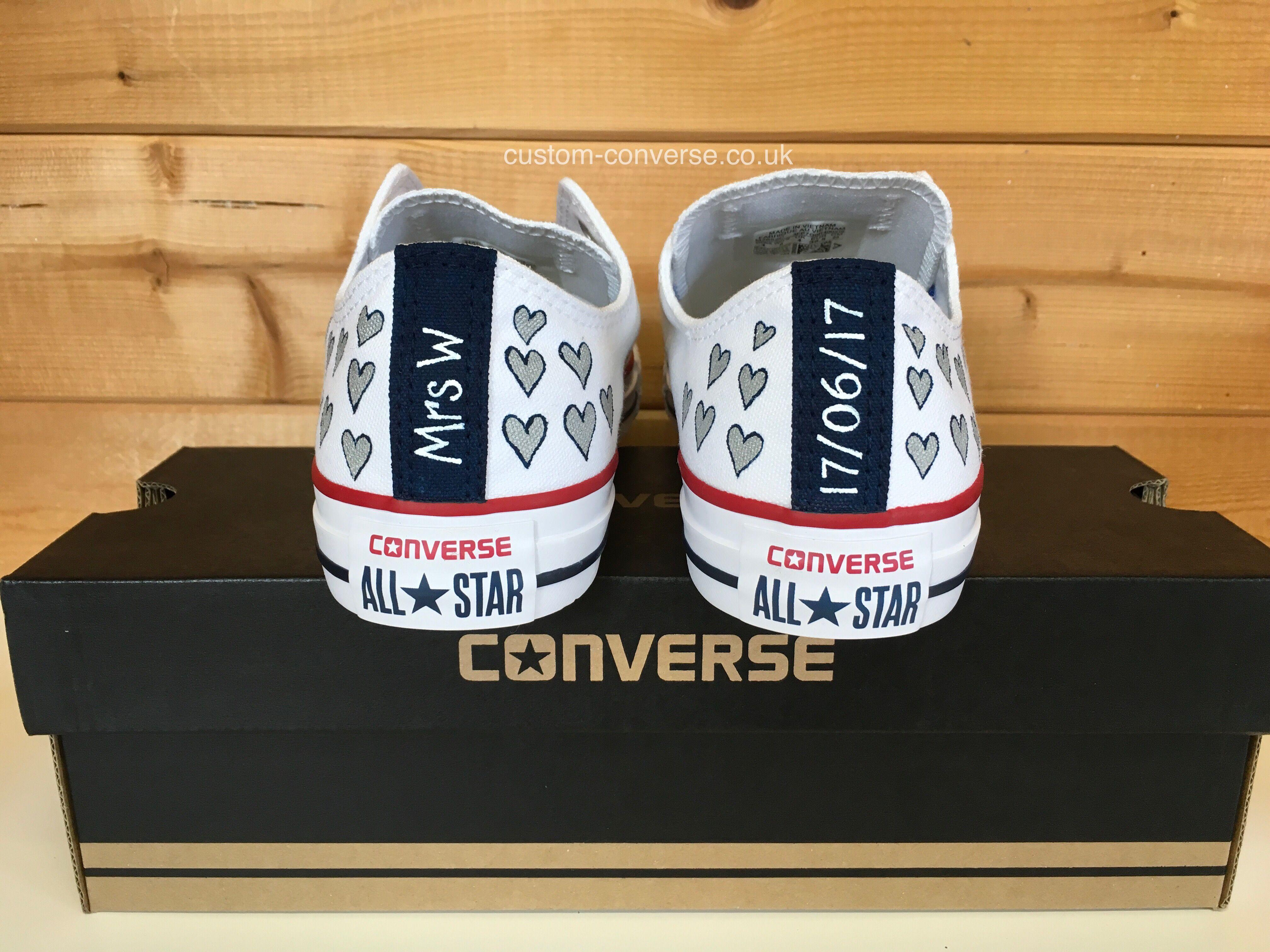 814bfaa092b1 Silver and Navy Bridal Hearts with Heel Tags. Personalised Wedding Converse   weddingconverse  personalisedconverse