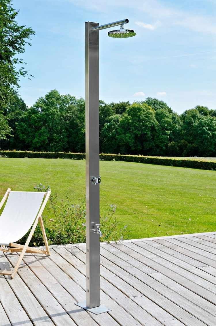 Douche De Jardin Avec Colonne Carrée En Inox à Installer Sur La Terrasse De  Jardin