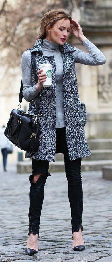 Marled grey sleeveless coat.