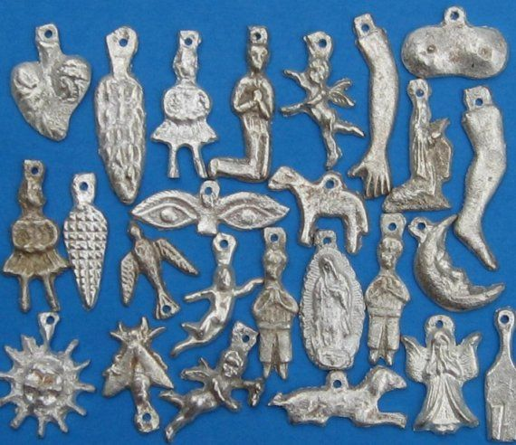 25 antique looking silver\/gold tone milagros charms