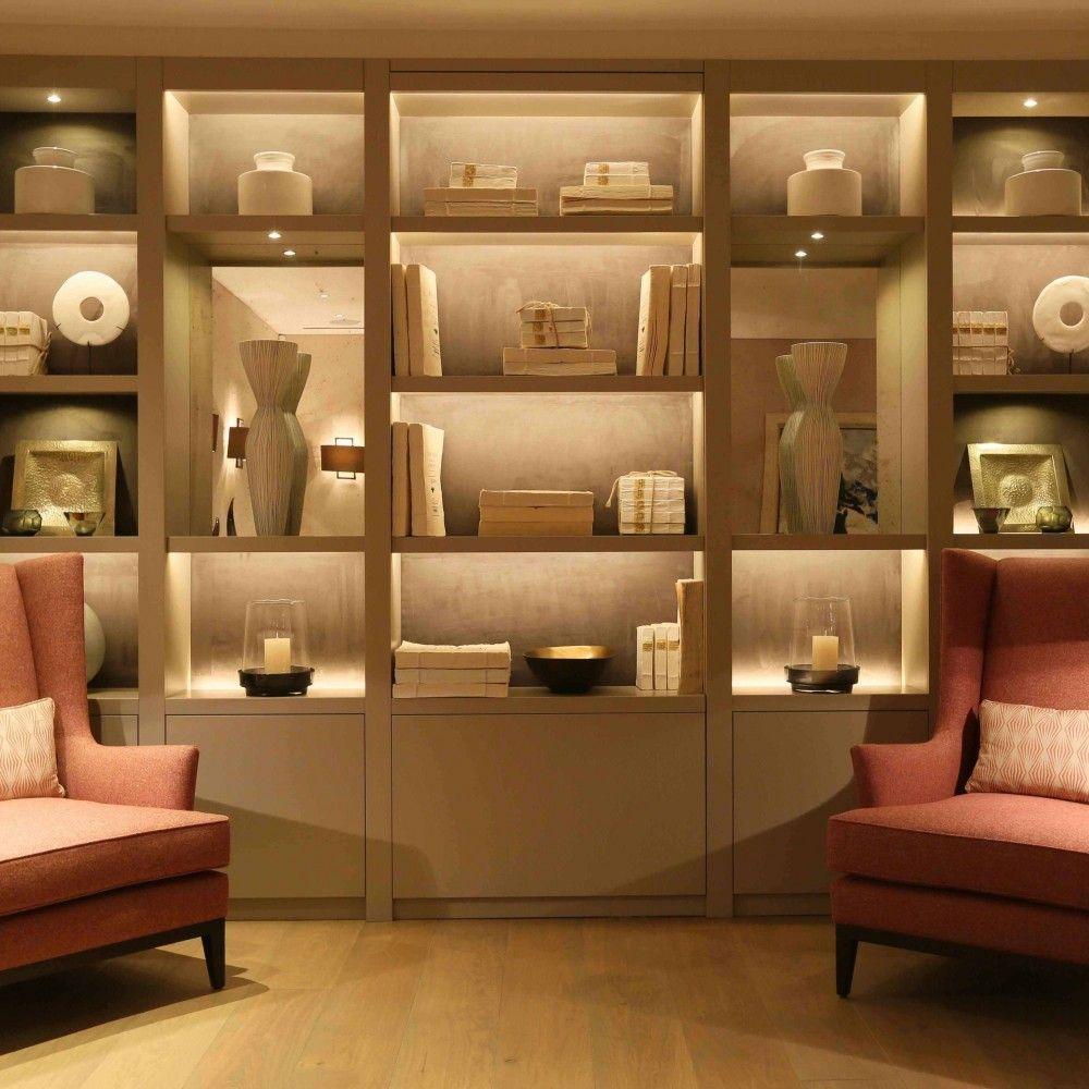 lighting in bookcases bookshelves in