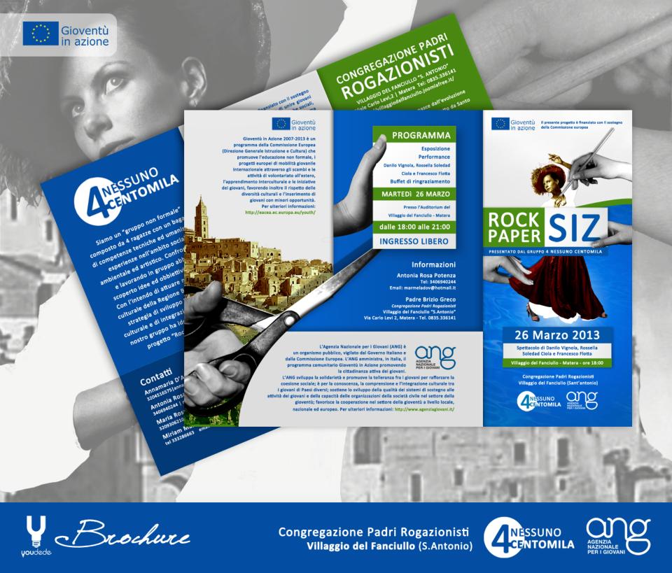 """Ideazione, Progettazione e Sviluppo della grafica di brochure 3 ante """"Rock Paper Siz (Maatera - Cultura)"""""""