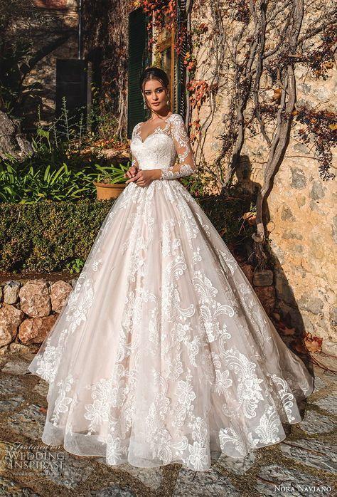 nora naviano 2019 bridal long sleeves sweetheart neckline full embellishment princess romantic ball gown a line wedding dress sheer button back