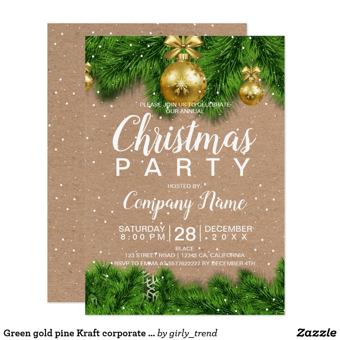 Green gold pine Kraft corporate Christmas Invitation | Pinterest ...