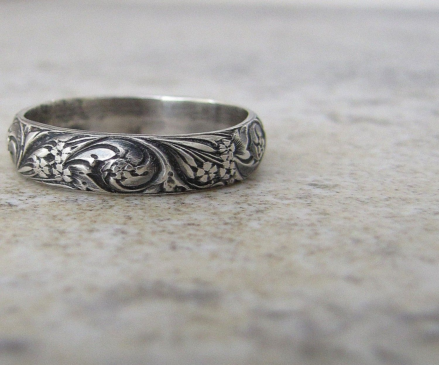 Antique Wedding Band Fl Pattern Ring Silver By Silversmack 38 00