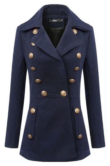 c44e22b8c3dd Fashionwear Navy Blue Cool Womens Turndown Collar Warm Tweed Pea Coat on  Luulla