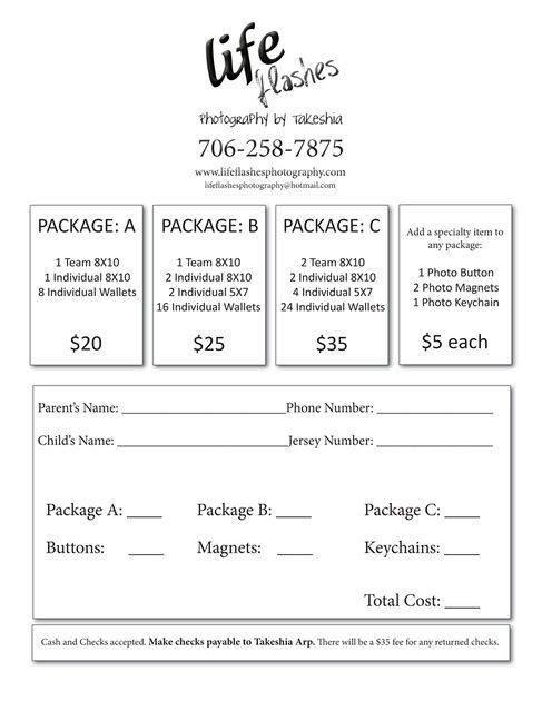 Youth Sports Photography Order Form  Choose Packages And Have