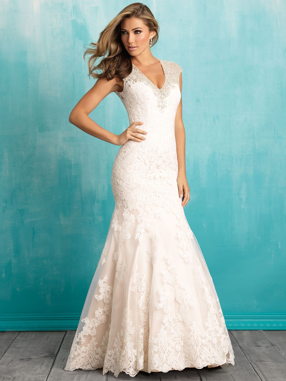 Allure 9307 Cap Sleeves Lace Fit And Flare Bridal Dress